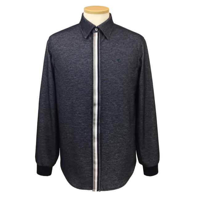 【送料無料】紳士/デニムニット フライフロントスナップシャツ[HPM1102]