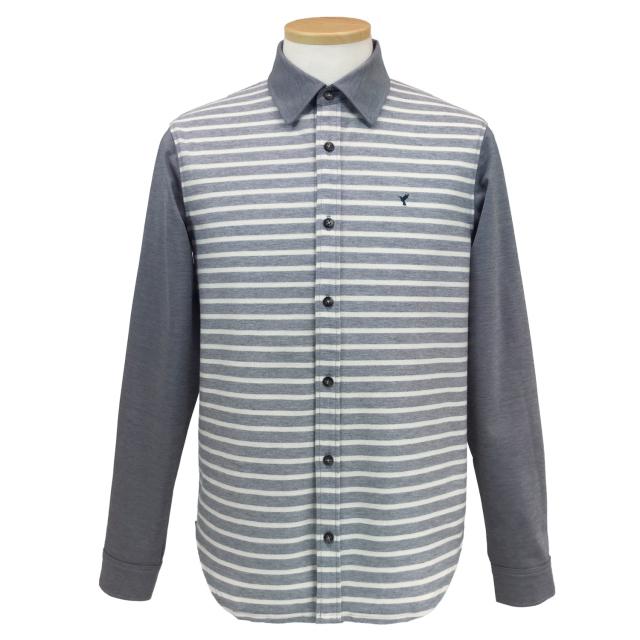 【送料無料】紳士/インレーボーダー レギュラーカラーシャツ[HPM2101]