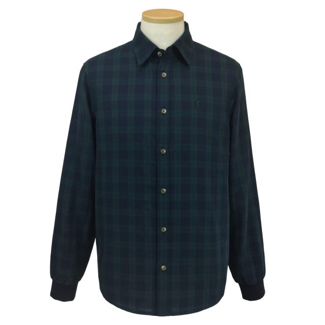 【送料無料】紳士/ダブルガーゼチェック バックニットシャツ[HPM2102]
