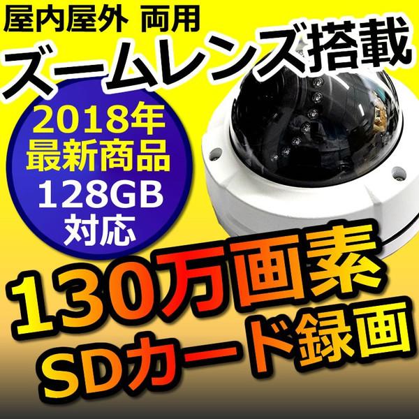 防犯カメラ SDカード録画 家庭用 防水 屋外 130万画素 720Pドーム型 CK-800VF