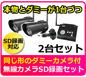 防犯カメラ ワイヤレス/無線 SDカード録画 ダミーカメラつき  屋外  ワイヤレス防犯カメラ AT-2800D
