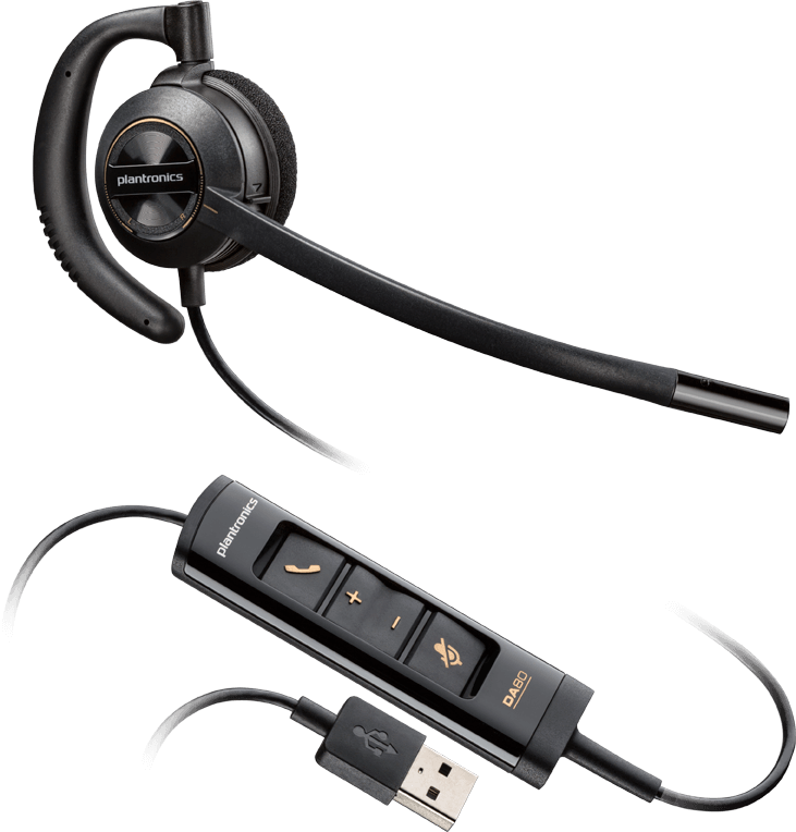 Plantronics(プラントロニクス) HW535 USB 片耳タイプ、耳掛け式、ノイズキャンセル機能 USBヘッドセット