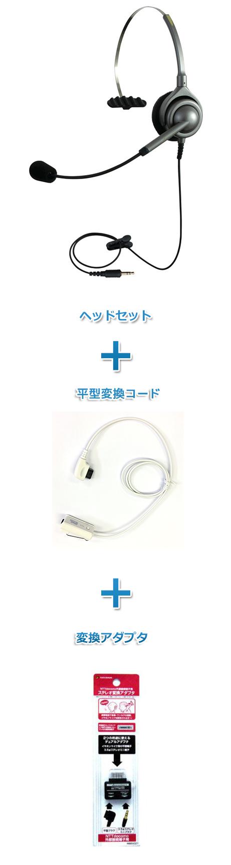 【送料無料】エンタープライズ製(日本製) ヘッドセット【特定PHS電話機用 外部接続端子接続】(ヘッドセット「EN-M」と平型コード「PH02」と外部接続端子への変換アダプタ「RB8VC01」のセット商品 )