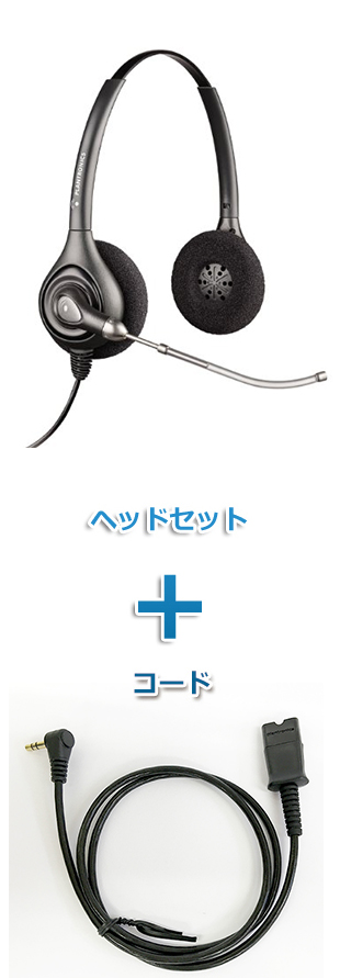 Plantronics(プラントロニクス)ヘッドセット(HW261・63625-02 携帯電話・PHS接続 3.5mm 3極プラグケーブルセット)