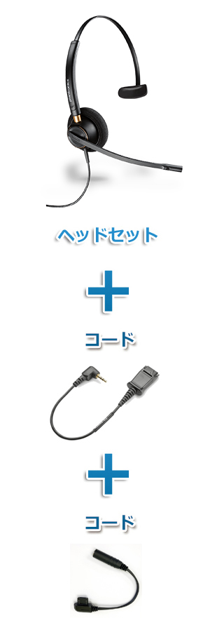 Plantronics(プラントロニクス)ヘッドセット【特定PHS電話機用 平型端子接続】(HW510 + 43038-01 + VH-0201FC 超ミニ3極プラグと平型端子変換セット)