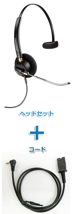 Plantronics(プラントロニクス)ヘッドセット(HW510V・63625-02 携帯電話・PHS接続 3.5mm 3極プラグケーブルセット)