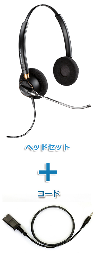Plantronics(プラントロニクス)ヘッドセット(HW520V・40288-01 携帯電話・PHS接続 3.5mm 3極プラグケーブルセット)
