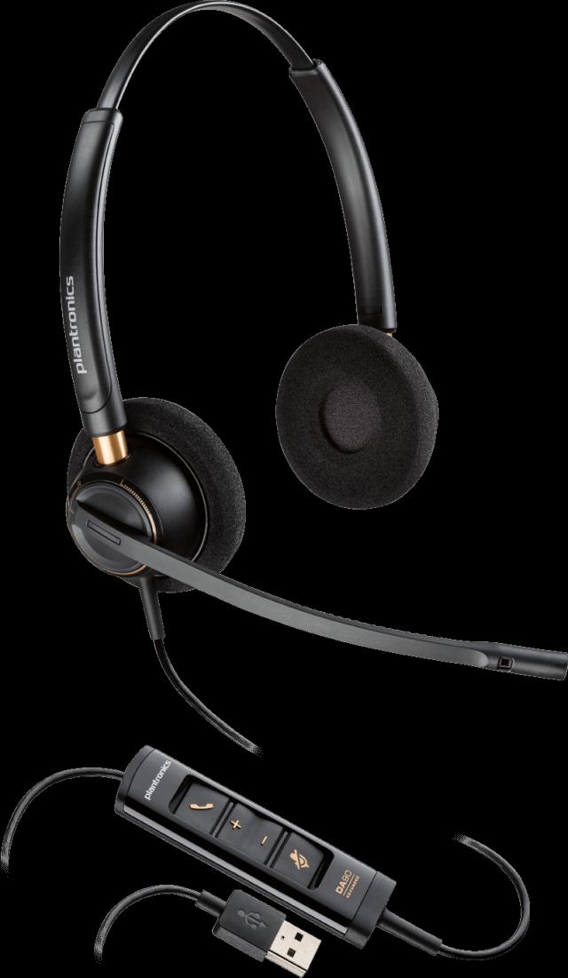 Plantronics(プラントロニクス) HW525 USB 両耳タイプオーバーヘッド、ノイズキャンセル機能 USBヘッドセット