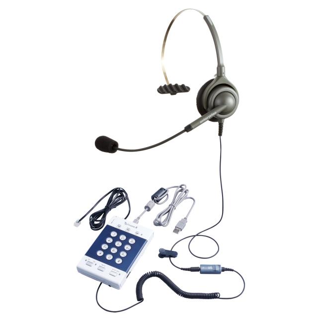 格安簡易CTI製品・ヘッドセット型電話機 ZiPHONE2(電話機本体)+ エンタープライズ製ヘッドセット(日本製)/片耳タイプ/自動発着信/留守番応答/コールリスト管理/通話録音