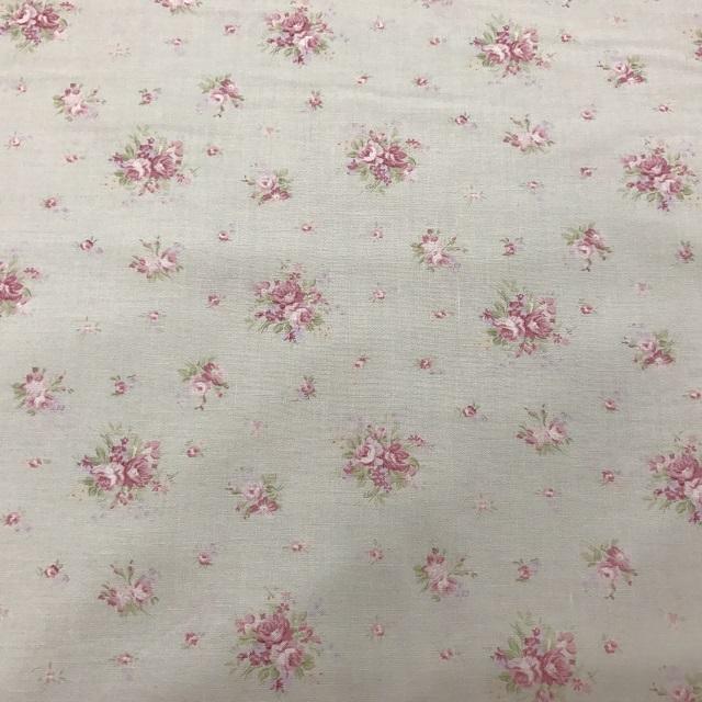 【花柄】【【パッチワーク用布】【カットクロス】【メール便可】シャーティングfairyroseミニ薔薇ブーケ グリーン