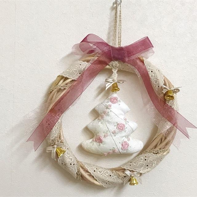 【オリジナルキット】【X'mas】聖夜に飾るホワイトツリーのクリスマスリース