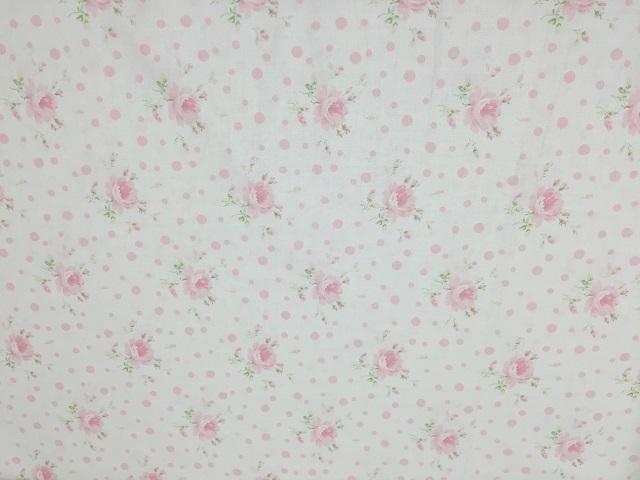 【花柄】【パッチワーク用布】【YUWA】【メール便可】 ローズ&ドット柄 薄ピンクXオフホワイト