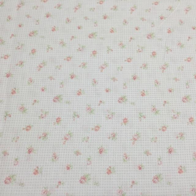 【花柄】【パッチワーク用布】【YUWA】【メール便可】 プチローズXチェック ピンク