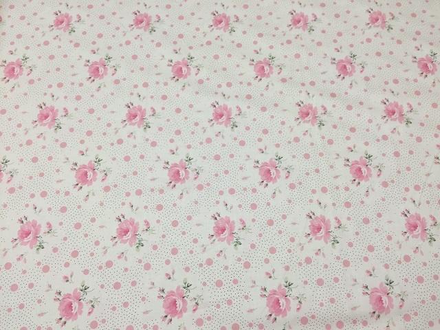 【花柄】【パッチワーク用布】【YUWA】【メール便可】 ローズ&ドット柄 ピンクX生成り
