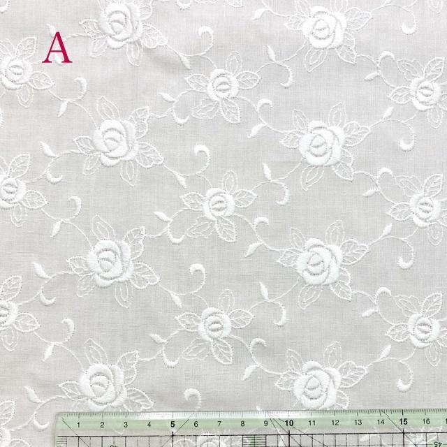 【刺しゅう生地】【花柄】【ホワイト】【手作りマスク】【YUWA】【メール便可】 花柄刺しゅう生地 白 50cmx110cm