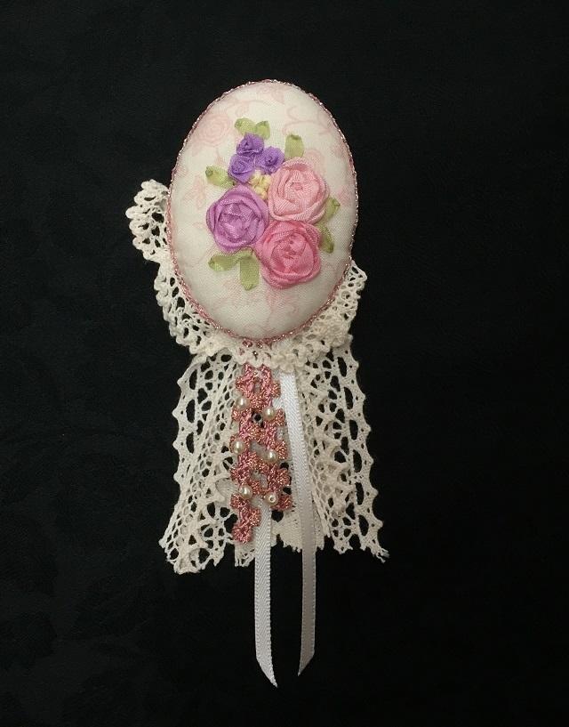 【完全オリジナルキット】【リボン刺繍】【レース】【レターパックライト可】 リボン刺繍のレーシーブローチ
