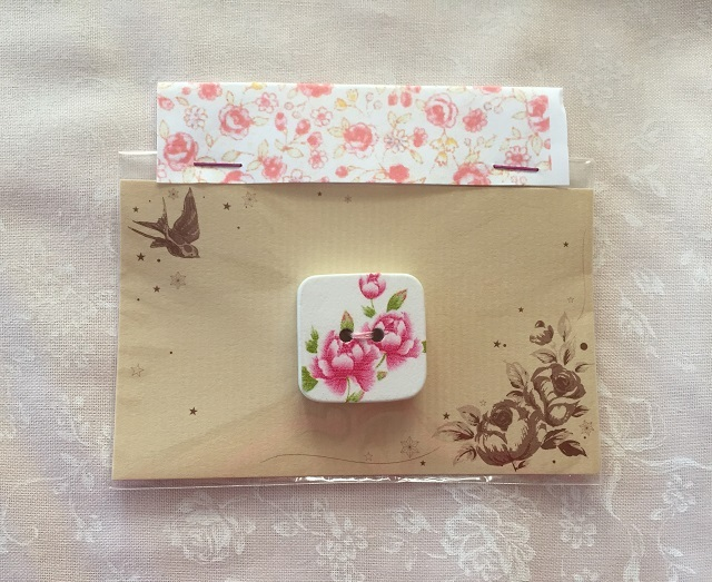 【ボタン】【花柄】【木製】【レターパックライト可】 花柄のスクエアボタン