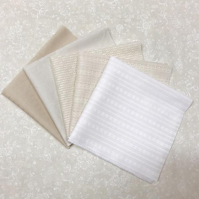 【花柄】【白、生成り系】【優しい色合い】【メール便可】ハートフィールドカラーのカットクロスセット 5枚入り