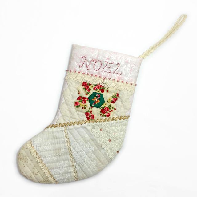 【完全オリジナルデザインキット】【X'mas】【レース】【メール便可】とびっきりロマンティックなピンクXホワイトクリスマスのブーツ