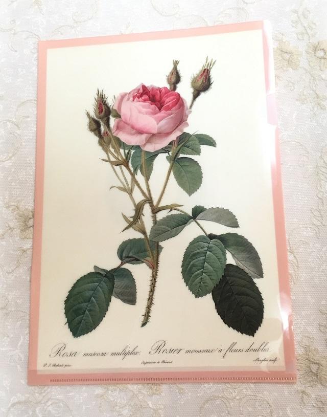 【ルドゥーテ】【薔薇柄】【ステーショナリー】【メール便可】 ルドゥーテ クリア・ファイル