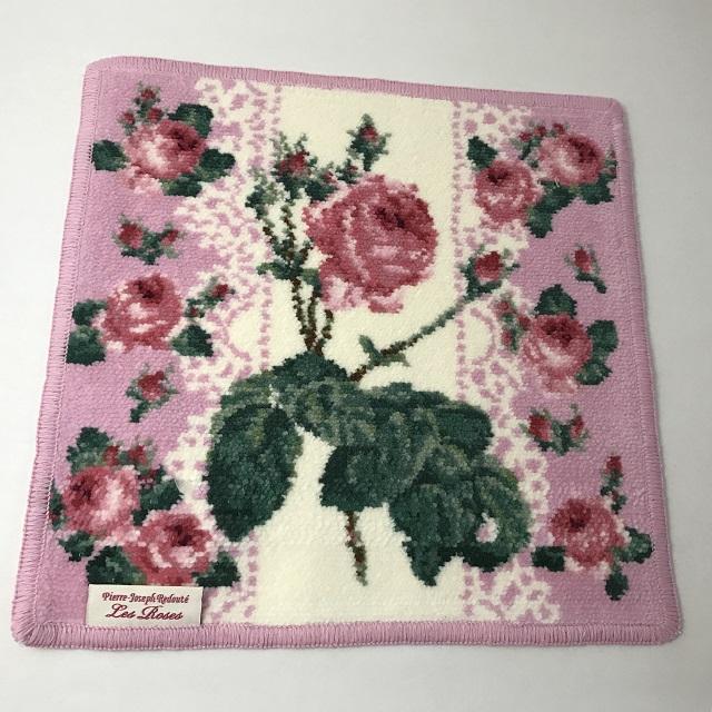 【ルドゥーテ】【薔薇柄】【レターパックライト可】 ルドゥーテ バラ柄 シェニール織ハンカチ ピンク
