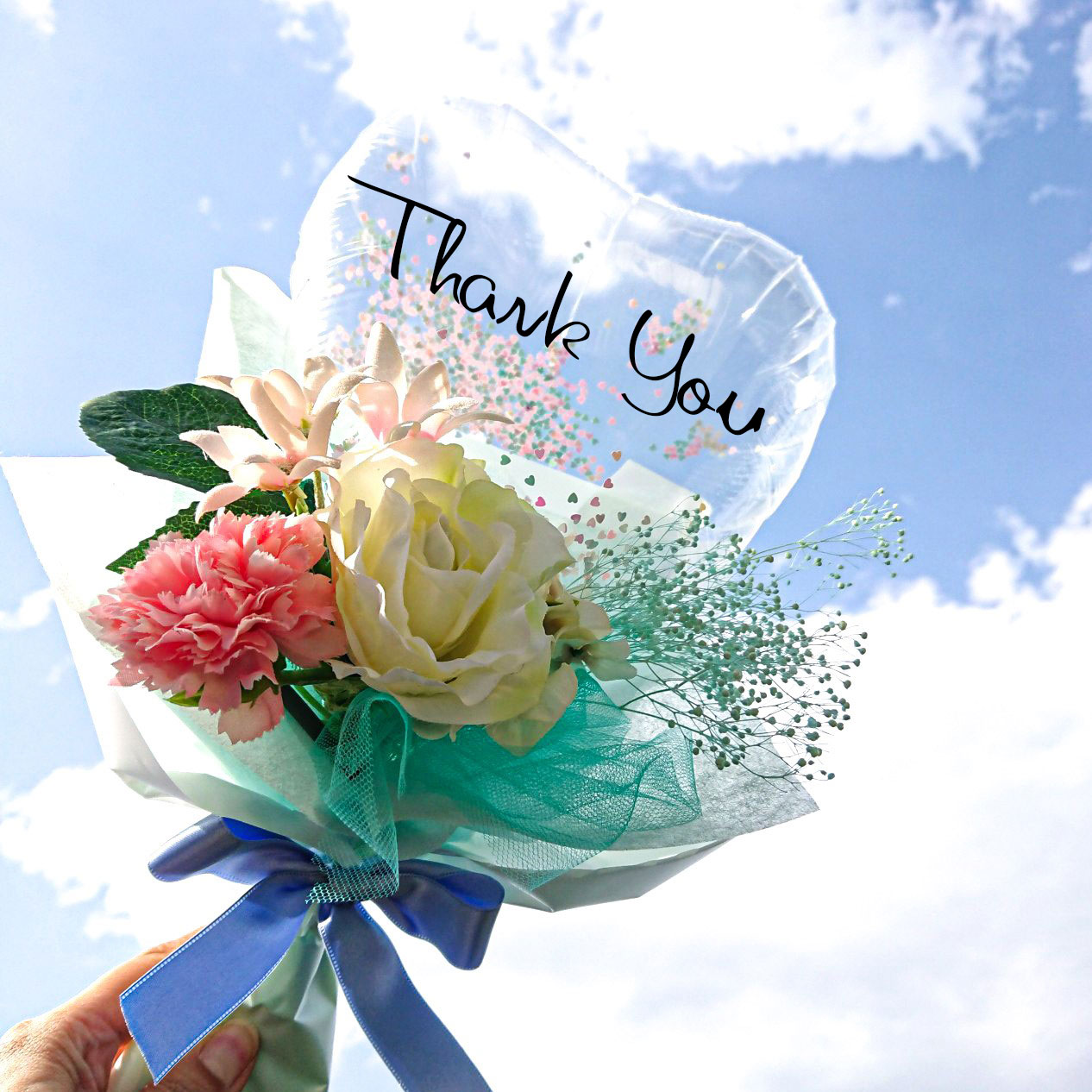 2021年新作 kawaiiママ ハートコンフェティシリーズ 母の日花束タイプピンク 「ミントグリーンかすみ風 ママ束 バルーンギフト」 hm0050