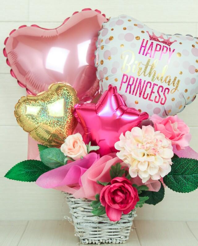 誕生日プレゼント バルーンアレンジ「大人カワイイ、ドットモチーフのプリンセスバルーンの誕生日アレンジ」 bd0055