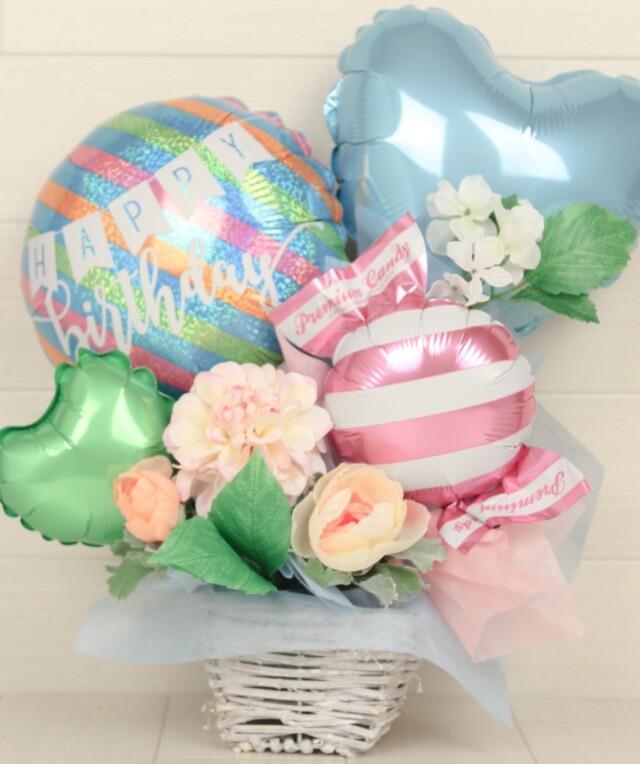 誕生日プレゼント バルーンアレンジ「大人kawaii アーリーサマー爽やかな誕生日バルーンアレンジ」 bd0057