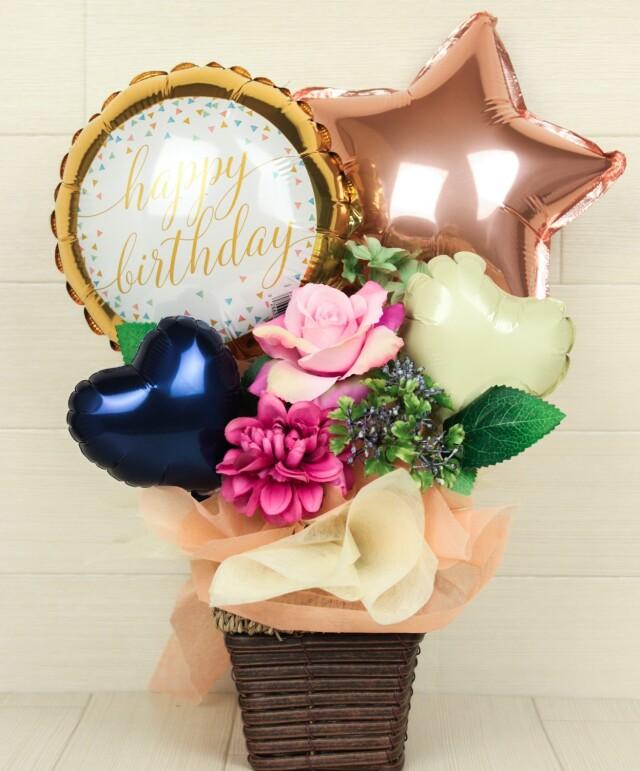 誕生日プレゼント バルーンアレンジ「大人カワイイ、ローズゴールドの誕生日バルーンアレンジ」 bd0058