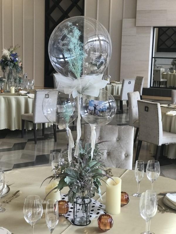 かすみ草入りクリアバルーン、結婚式のテーブル装花の代わりに人気です。 hd0001