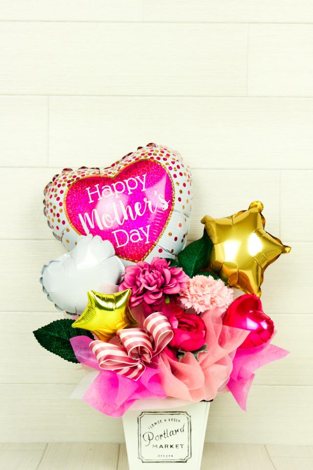 絶対オシャレシリーズ 母の日バルーンアレンジタイプ 「Happymotherハート」 hm0028