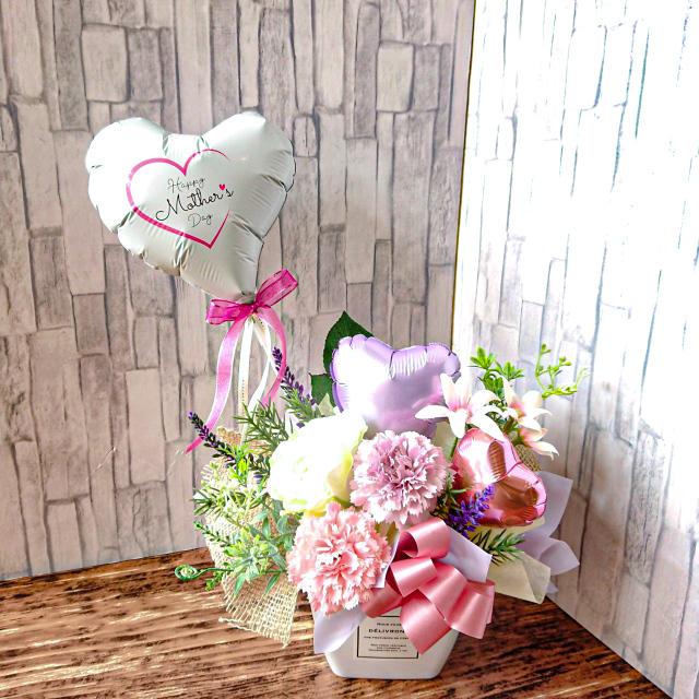 2021年新商品母の日バルーン使用 母の日バルーンアレンジ 「ピュアホワイト母の日ギフト」 hm0051