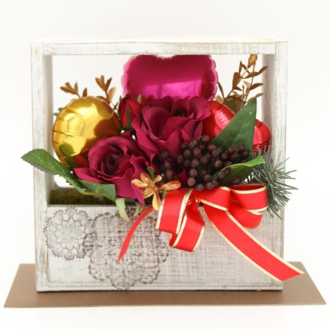 クリスマスアレンジ「スクエアレッド クリスマスアレンジ」 バルーン電報 結婚式、誕生日、バレエ、ピアノ発表会に人気です mc0021
