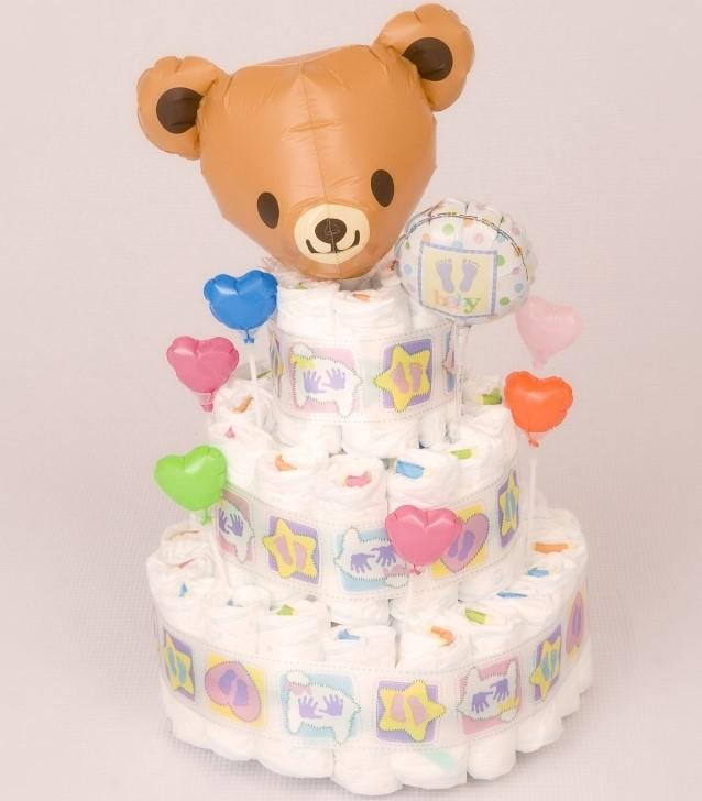 出産祝い おむつけーき「オムツケーキ3段くまちゃん」 nb007