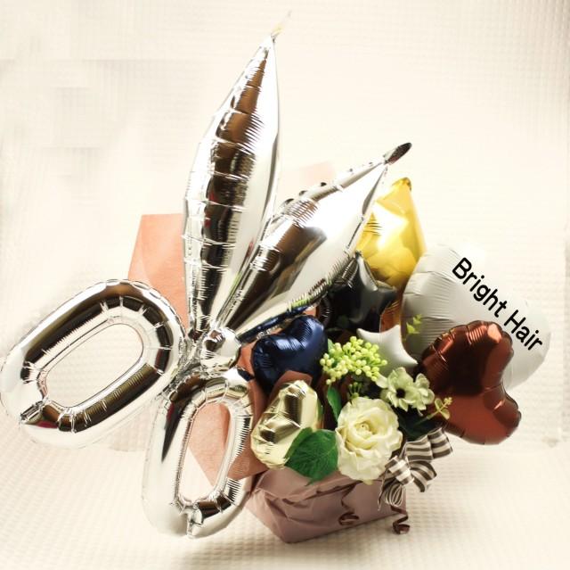 美容室、理容室、ヘアサロン 名前入れられます開店祝いバルーン 「ハサミバルーン開店おめでとうバルーンギフト」 op007