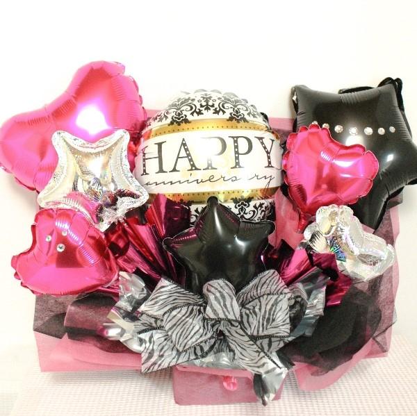 誕生日プレゼント  「黒ピンクを基調にした「大人可愛い」バルーンアレンジ、開店祝い、周年記念などに人気です 」 ot0023