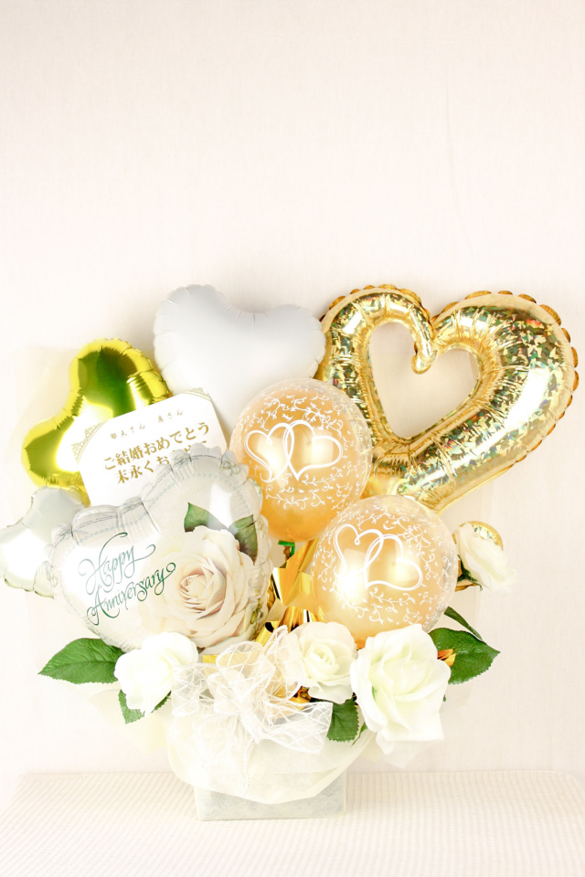 結婚式バルーン電報 バルーンギフト「ピュアゴールド(ゴージャスな結婚式をイメージした)大人のバルーンアレンジ」 wd0040