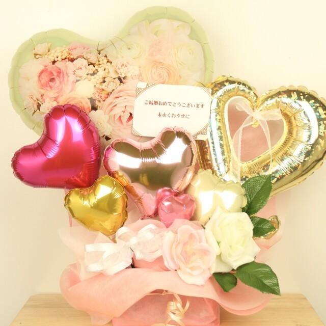 結婚式バルーン電報 「ピュアハーティー(花がプリントしてあるバルーンは大人可愛いバルーンアレンジ」 wd0046