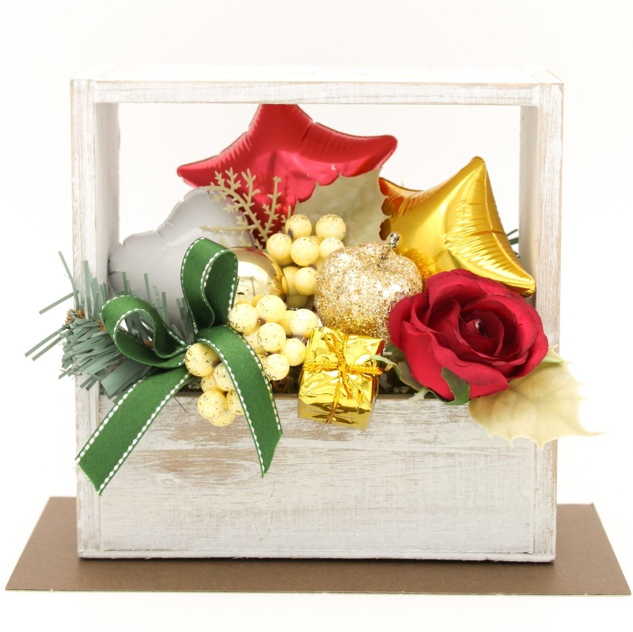 クリスマスアレンジ「スクエアシルバー クリスマスアレンジ」 バルーン電報 結婚式、誕生日、バレエ、ピアノ発表会に人気です mc0020