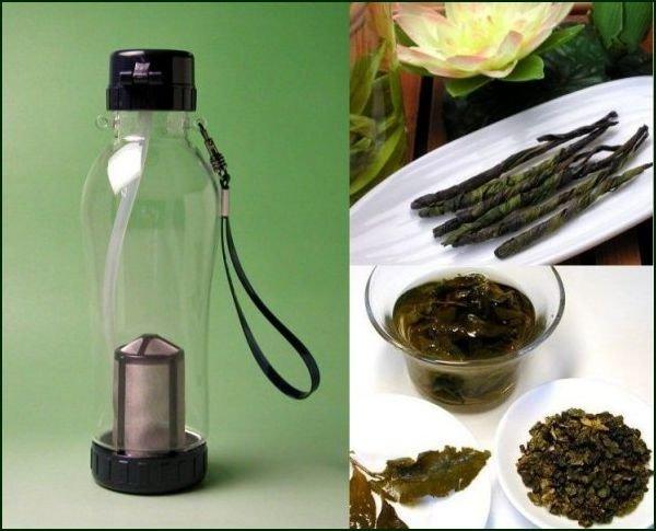 【日本全国送料無料】中国茶用茶漉し付き携帯エコ水筒(台湾飄逸杯)580cc+お勧め中国茶2種類