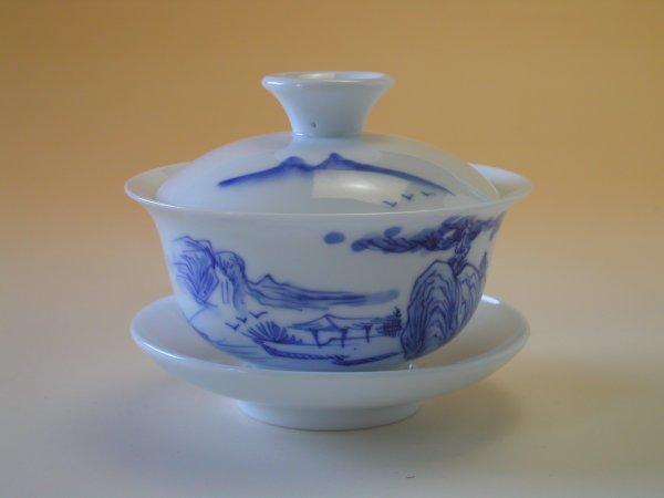 【中国茶具】景徳鎮手描き蓋碗(山水)