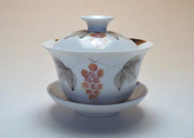 【中国茶具】手描き葡萄文蓋碗
