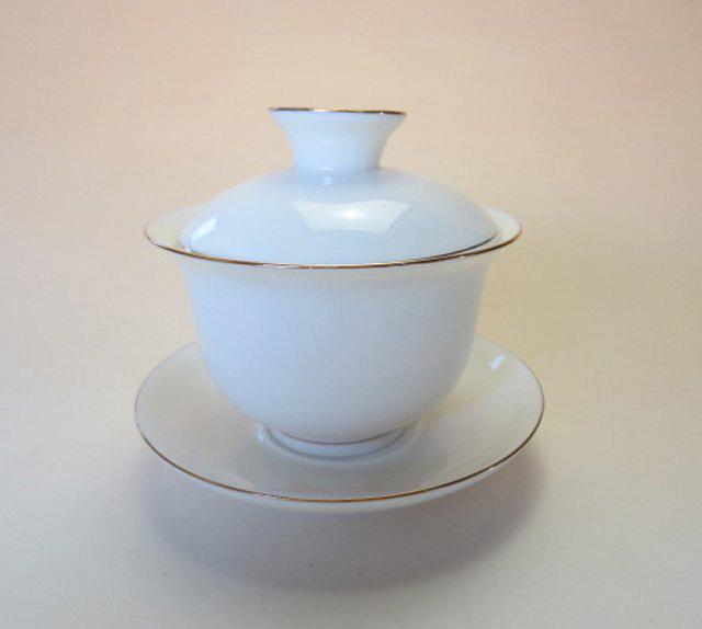 【中国茶具】金線白磁蓋碗