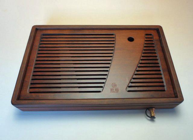 【中国茶具】天然竹製茶盤角丸型