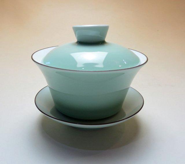 【中国茶具】青・白磁蓋碗(大)