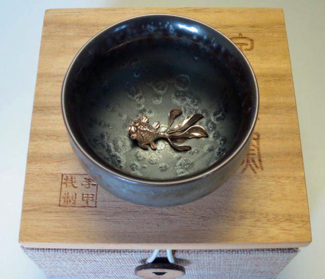 【中国茶具】純銀細工天目釉茶杯【季甲桟】