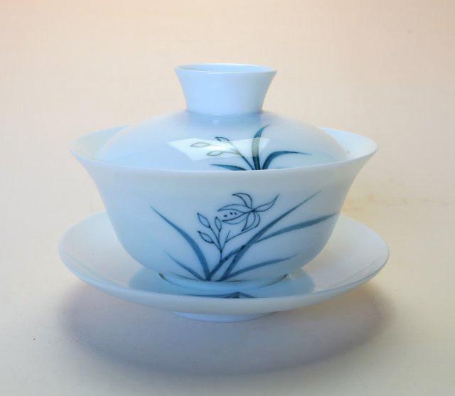【中国茶器】手描き蓋碗春蘭青