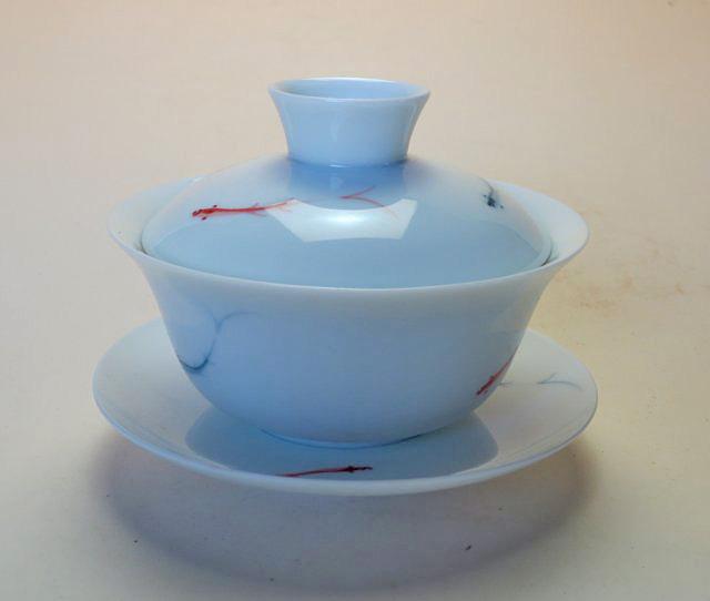 【中国茶器】手描き蓋碗赤青魚