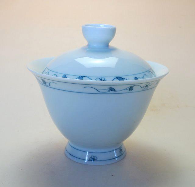 【中国茶器】手描き高台如意蓋碗C