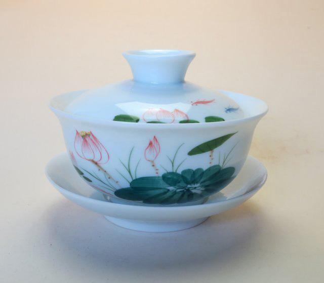 【中国茶器】手描き蓋碗三彩A